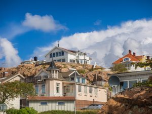 Historic old wooden houses or villas in Lysekil, Sweden